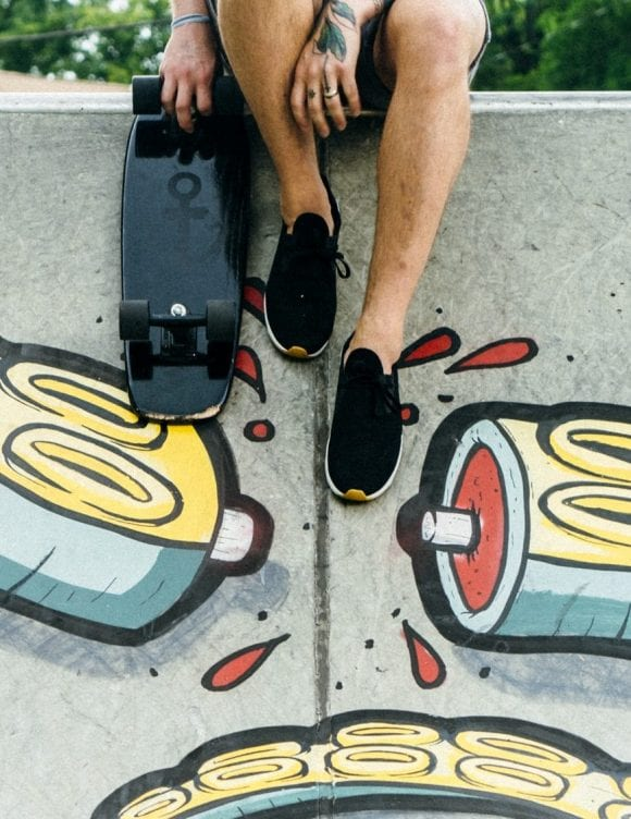 Skateboarder with Squid Art